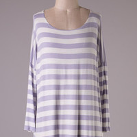 Striped Dolman Sleeved Tunic - Lilac