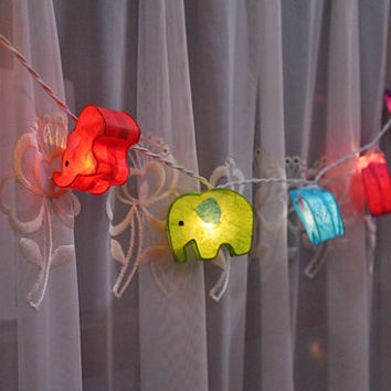 20 Bulbs Thai elephant mulberry paper Lanterns for wedding party decoration