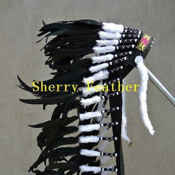 Black Indian Feather headdress chief indian feather war bonnet for halloween supply american costume