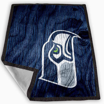 Seattle Seahawks Black Wood Blanket for Kids Blanket, Fleece Blanket Cute and Awesome Blanket for your bedding, Blanket fleece **