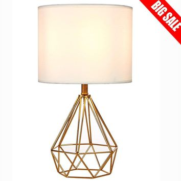 SOTTAE Fashionable Modern Desk Lamp Golden Hollowed Out Base Bedroom Livingroom Beside Table Lamp,White Fabric Shade