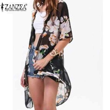 Zanzea Fashion 2018 Women Casual Loose Chiffon Blusas Ladies Boho Hippie Floral Blouse Long Kimono Coat Cardigan Outwear