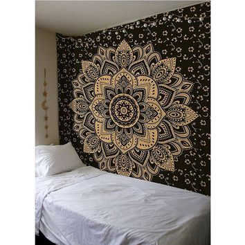 Wall Tapestry Mandala Floral Hanging Carpet Blanket Polyester Indian Bedspread Tablecloth Boho Hippie Towel Yoga Mat