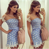 SIMPLE - Lace blue Floral Casual Backless Sleeveless Polka Dot Neckline One Piece Dress Tube bra Top banheau b4277