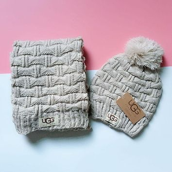 """UGG"" Hot Sale Trending Stylish Cute Knit Hat Cap Scarf Set Two-Piece Apricot"
