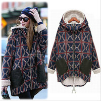 Hooded Pocket Plus Size Thick Big Coat