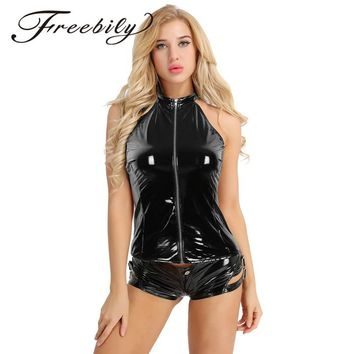 Black Sexy Womens Fashion Wetlook Slim Vest Tops Faux Leather Sleeveless Lightweight Halter Neck Zipper Backless Punk Vest Tops
