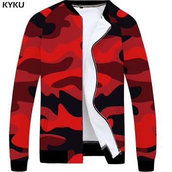 Trendy KYKU Camo Jacket Men Camouflage Baseball Jacket Bomber 3d Print Jacket Military Slim Red Vintage Mens Clothing Casual Coat New AT_94_13