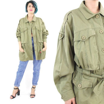 80s Army Surplus Jacket Womens Military Jacket Khaki Cotton Jacket Slouchy Bomber Jacket Chest Pockets Oversize Belted Army Jacket (M/L/XL)