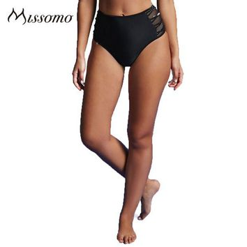 DCCK7G2 Missomo Fashion 2017 Solid Black Women Panties High Waist Side Hollow Out Mesh Up Sheer Briefs Lady's New Design Underpants