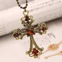 Jewelry Punk Cross Shape Pendant Necklace Vintage Bronze Champagne Crystal Rope Chain Necklace For Women Style SM6