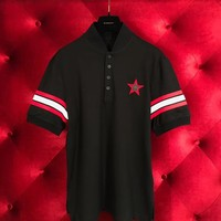 GIVENCHY Polo T shirt New Mens Black Stars ★ 006