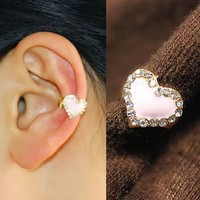Dazzling Heart Fashion Ear Cuff (Single, No Piercing)