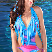 Blue Multi Printed Fringe Monokini Swimsuit