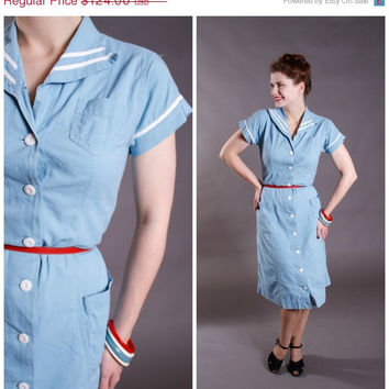 CHRISTMAS SALE - Vintage 1950s Dress - Early 50s Chambray Sailor Dress - Starbird