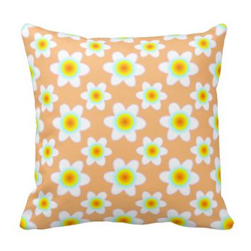 White Yellow Flowers choose your background colour Pillows
