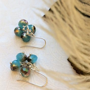 One of a Kind Artisan Crafted Blue/Brown Czech Glass Cluster Drop Earrings