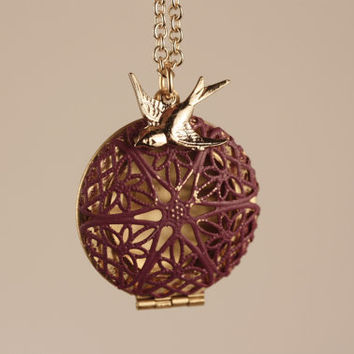 Purple Filigree Locket, Long Fashion Pendant Necklace, Gold Bird Charm, Two Tone Metal Jewelry, Unique Jewellery, Round, Transparent