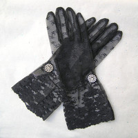 Black Lace Gloves, Bridal Lace Gloves, Black Gloves, 1920s Gloves with Rhinestone Jewelry, 1920s Fashion,