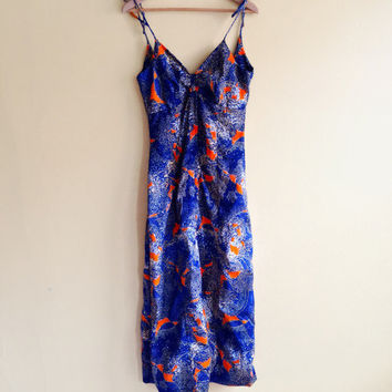Vintage 60s Orange & Blue Triangle Top Dress - womens maxi dress