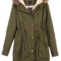 VonFon Womens Winter Warm Thicken Fleece Jacket Hooded Parka Coat