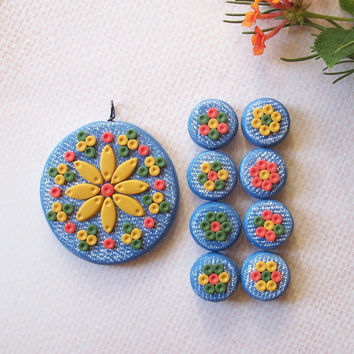 70's Inspired Polymer Clay Pendant and Bead Set - retro flower pendant & 8 beads - denim blue, harvest gold, avocado green, orange