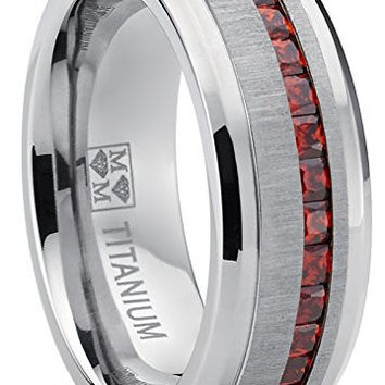 Men's Eternity Titanium Wedding Band Engagement Ring W/ Red Simulated Garnet Cubic Zirconia Princess cut CZ | FREE ENGRAVING