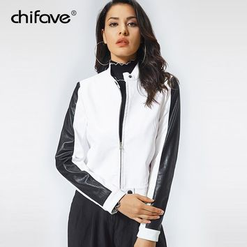 chifave Female Jacket Autumn Winter 2018 Women White PU Leather Jacket New Fashion Patchwork Women's Leather Jacket  Plus Sizes