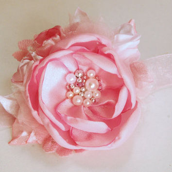 wedding cuff bracelet, wrist corsage in pink, creamlight pink with lace, satin, pearls