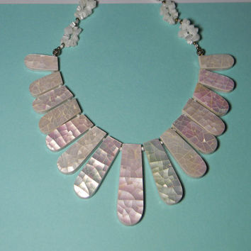 Boho Necklace, White Mother-Of-Pearl Crackle Finish, Vintage Statement Piece