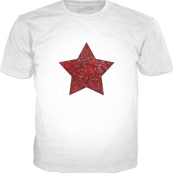 Red and black swirls doodles star Classic T-Shirt White