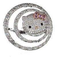 Amazon.com: Hello Kitty HUGE Designer style Diamante Crystal ring w/Purple bow w/Kitty Gift Box by Jersey Bling: Jewelry