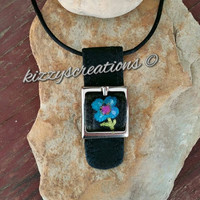 Mixed Media, Metalwork, Suede Leather, Buckle, Retro Fashion, Trending Jewelry, Hand Crafted, Hand Painted, Flower Pendant