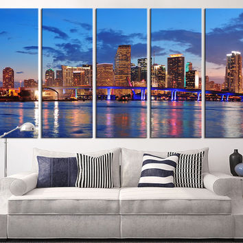 Miami Large Wall Art Canvas Print, Miami Skyline Wall Art Print, 5 Panel Large Canvas Print,