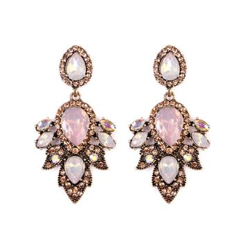 Pink Vintage Statement Drop Earrings