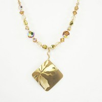 Holly Yashi Signed Square Pendant and Crystal Beaded Chain Necklace, Matte and Polished Gold Tone Floral Design, Vintage 1990s Retro