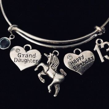 Unicorn Grand Daughter Jewelry Happy 13th Birthday Adjustable Bracelet Expandable Charm Bracelet Bangle Trendy Granddaughter Gift