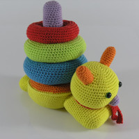 Crochet stacking toy snail-ring stacker-educational toy-stuffed snail toy-baby ring stacking tower-toddler toy-learning toy-stuffed baby toy