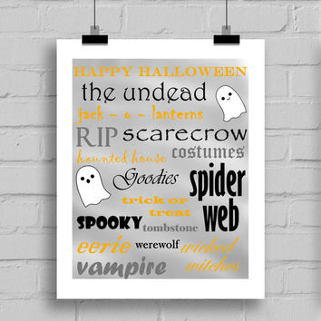 Happy Halloween Printable Wall Decor (JPG/PDF) 8x10