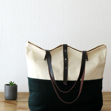 Canvas and wool tote bag with leather handles in forest green and cream / off white, Canvas Bag, Canvas Tote, Carryall Shoulder Bag, OOAK