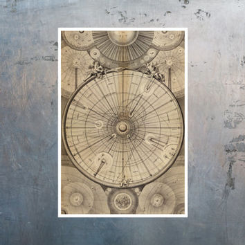 """Science art - Wright's Celestial Map of the Universe (1742) astronomy educational poster - 13""""x19"""" 32.9x48.3 cm recovered image"""