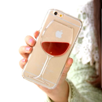 Red Wine Glass Phone Case Cover Apple iPhone 5S 6 6 Plus Transparent