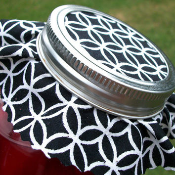 12 Elegant Black and White Jam Covers, Cloth Toppers, fabric for mason jars, food preservation, wedding favors and gifts