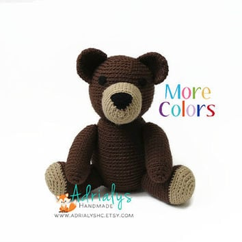 Crochet Bear- Crochet Animals- Stuffed Teddy Bear- Woodland Animals- Forest Animals- Handmade Bear- Crochet Toy- Toy Plush- Made to Order