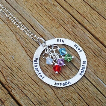Grandma Necklace Personalized .925 Sterling Silver Washer Style with birthstone