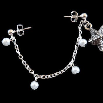 Starfish Cartilage Earring Set With Chain and Pearls