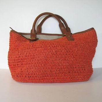 SALE, Ralph Lauren vintage Orange Straw handbag, Bags and Purses, Woman's Accessory