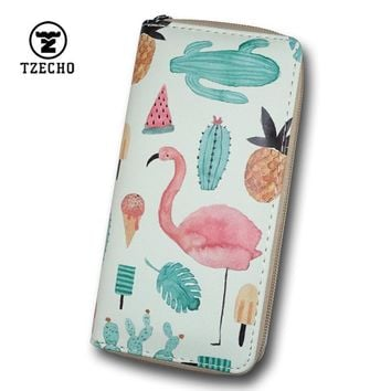 TZECHO Long Zipper Wallet For Women Clutch Wallet Phone PU Prints Flamingos Large Purses Cartoon Coin Pocket Credit Card Holder