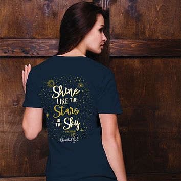 Cherished Girl Shine Like the Stars in the Sky Girlie Christian Bright T Shirt
