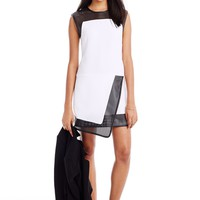 Perforated Faux Leather Dress